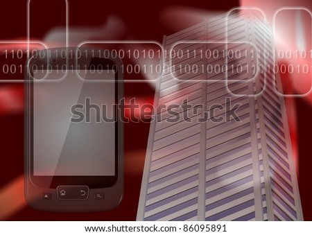 A city building and a mobile phone with binary code in the background / Digital city