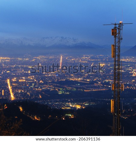 a city by night - stock photo