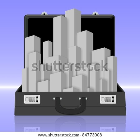 A city coming out from a black business briefcase / Briefcase city