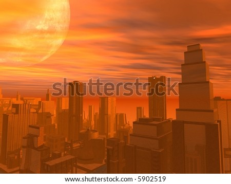 A city during sunset. With a large moon or planet - stock photo