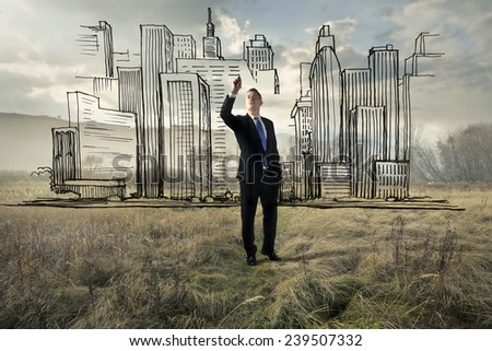 A city in the desert  - stock photo