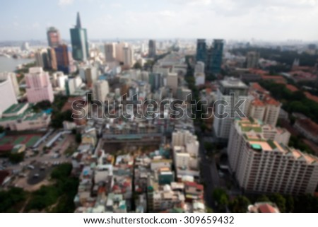 A city landscape see from above - stock photo