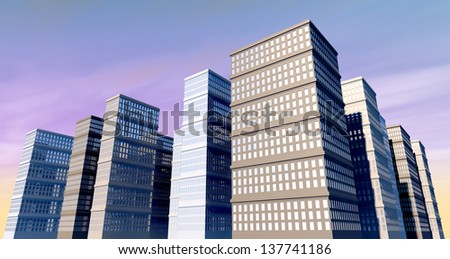 A city of monolithic skyscrapers with reflective windows on a blue sky background