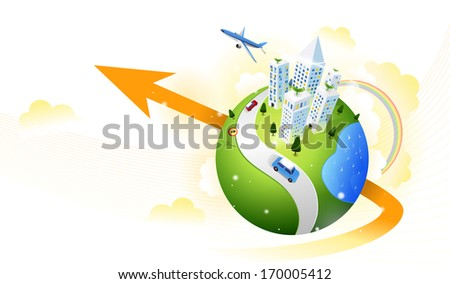 A city sitting on a globe with an arrow running through it. - stock photo