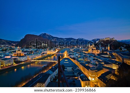 a city view of the city of salzburg in austria .. old town and fortress hohensalzburg - stock photo