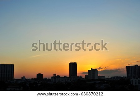 A city view sunset in Bangkok with clear sky. A large space of clear sky.