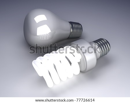 A classic and a modern energy saver light bulb. 3D rendered Illustration.