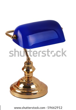 A classic bankers lamp isolated on a white background - stock photo