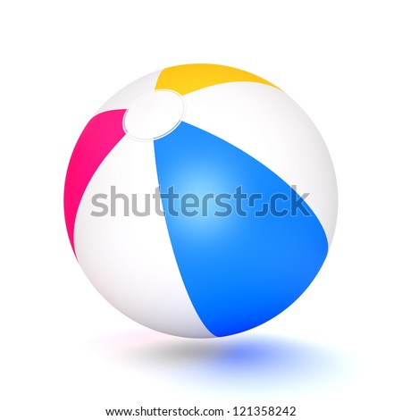 A classic beach ball isolated on white background. Computer generated image with clipping path. - stock photo