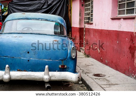 A classic blue unknown  vintage american car in Old Havana, Cuba - stock photo