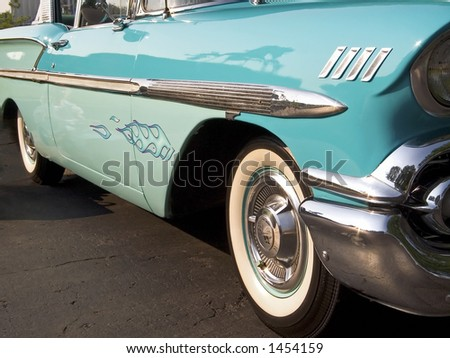 A 1958 classic car, the Chevy Bel Air. - stock photo