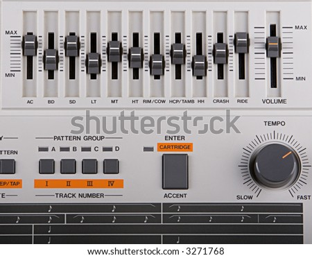 A Classic Drum Machine From The 1980s - stock photo