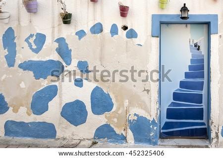 A classic greek style doorway at Makrigialos on the island of crete - stock photo