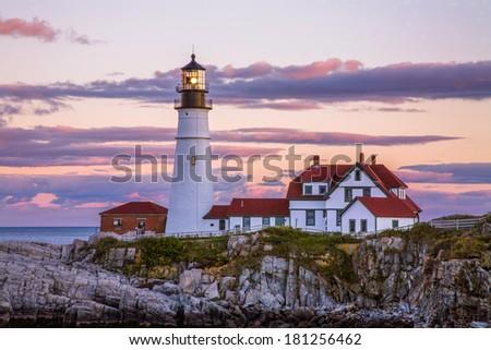A Classic New England Lighthouse, The Portland Head Light After Sunset, Portland Maine, USA - stock photo