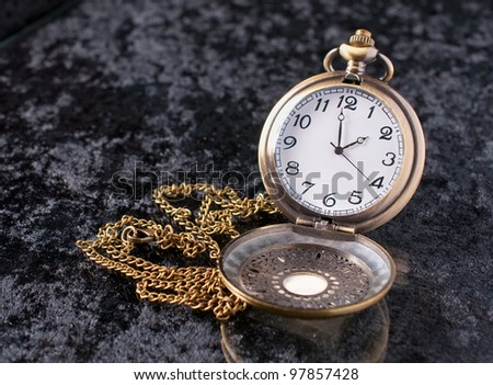 a classic pocket watch on velvet background