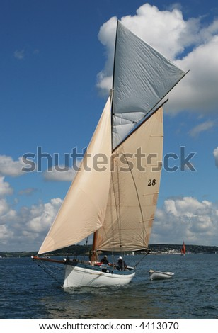 A classic sailing yacht in full sail