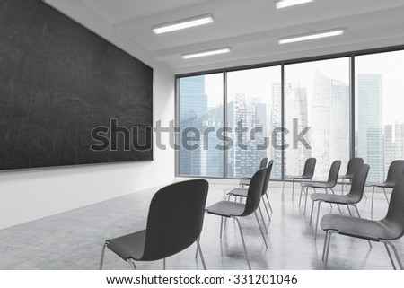 A classroom or presentation room in a modern university or fancy office. Black chairs, a black chalkboard on the wall and panoramic windows with Singapore view. 3D rendering.