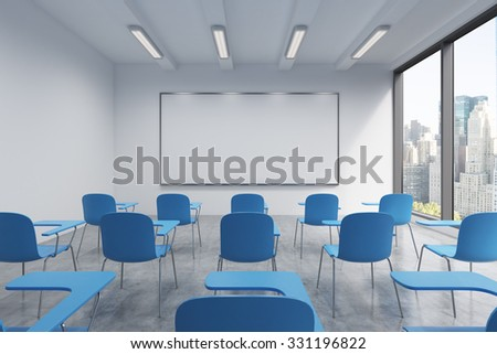 A classroom or presentation room in a modern university or fancy office. Blue chairs, a whiteboard on the wall and panoramic windows with New York view. 3D rendering. - stock photo