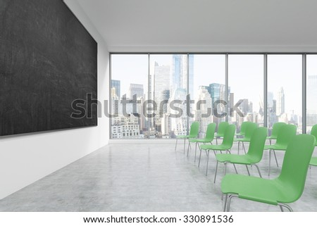A classroom or presentation room in a modern university or fancy office. Green chairs, a black chalkboard on the wall and panoramic New York view. 3D rendering.