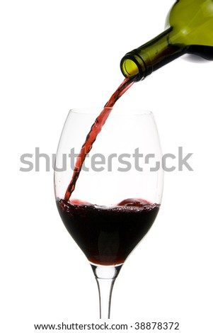 a clear glass of red wine isolated on white background