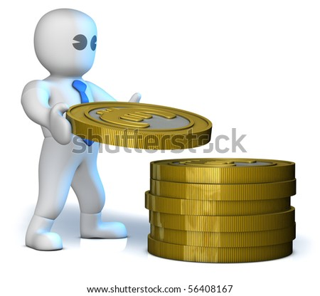 A clever man gather lot of euros on tower - stock photo