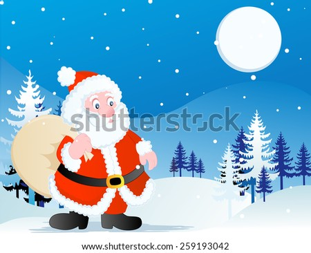 A clip art illustration featuring a cute Santa Claus running through the snow with a toy bag in his hand surrounded by falling snowflakes and trees against blue background at a silent night - stock photo