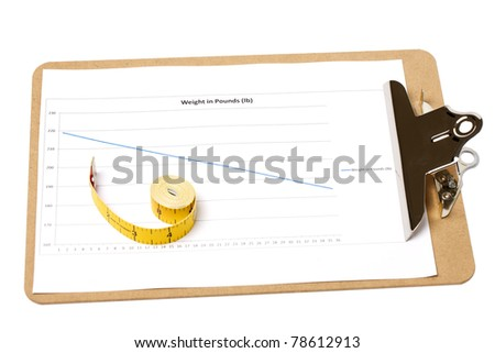 A clipboard with a weight loss chart with a rolled up tape measure on isolated white background - stock photo