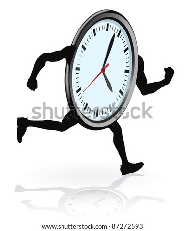 A clock character running. Concept for running out of time or work life balance. - stock photo