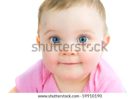 A close up headshot of a baby girl on a white background