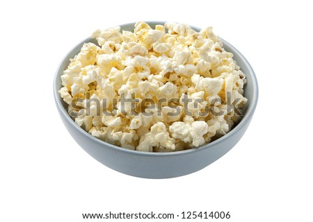 A close up image of a pop corn bowl against white background - stock photo