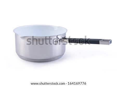 A close up image of sauce pan isolated on - stock photo