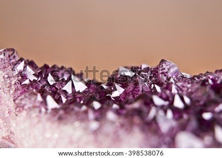a close up mineral of Amethyst crystal quartz, selective focus. - stock photo