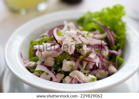 A close up of a bowl of fish ceviche salad with purple onions. - stock photo