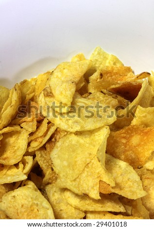 A close-up of a bowl of greasy potato chips.