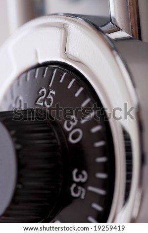 A close-up of a combination lock