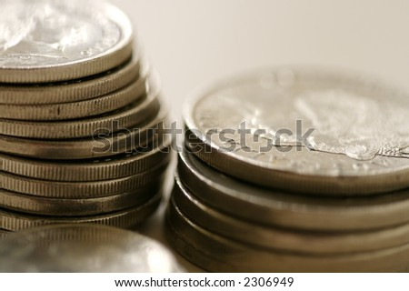 A close up of a few coins on a table