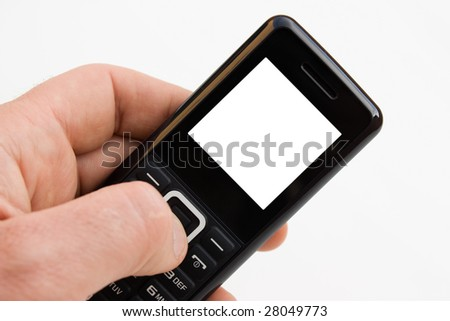 A close-up of a man's hand keeping a mobile with white copy space on the screen. - stock photo