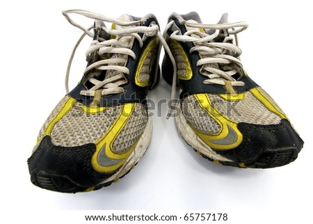 a close up of a pair of running shoes - stock photo