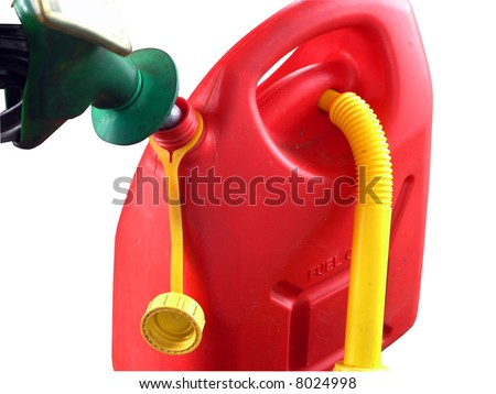 A close up of a petrol can being filled - stock photo