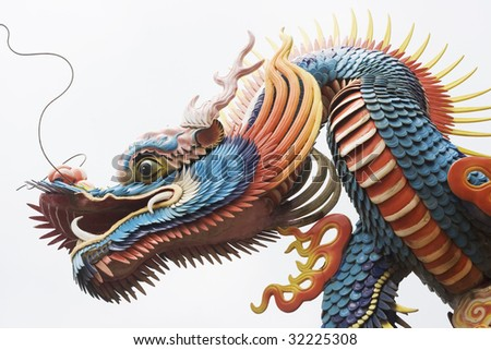 A close up of a temple dragon.  This is in the Chinese style and has much symbolism to the Chinese. - stock photo