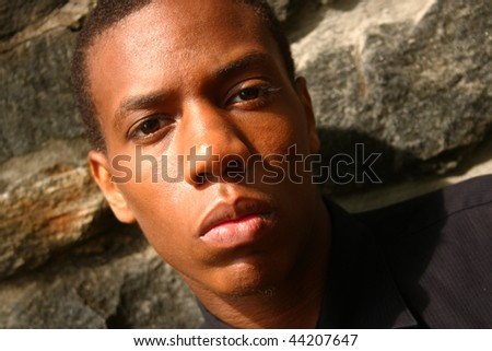 A close up of an African American man - stock photo
