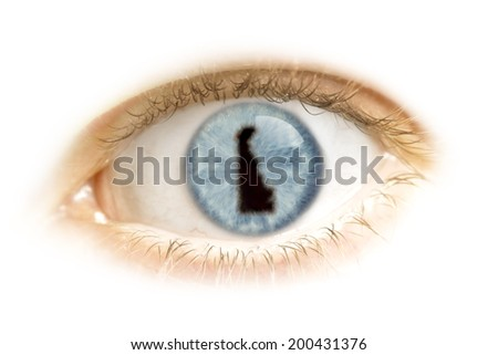 A close-up of an eye with the pupil in the shape of Delaware.(series) - stock photo
