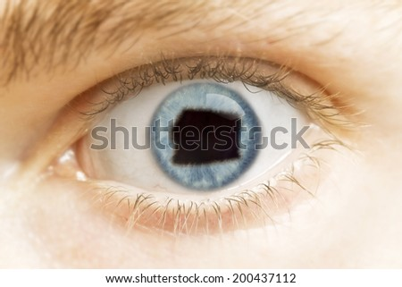 A close-up of an eye with the pupil in the shape of Equatorial Guinea.(series)