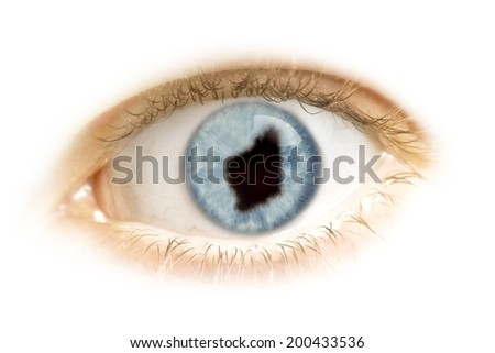 A close-up of an eye with the pupil in the shape of Western Australia.(series) - stock photo