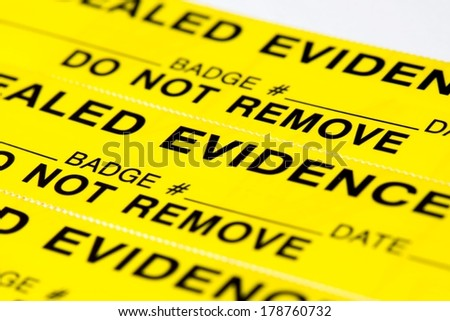 A close up of evidence tags. - stock photo