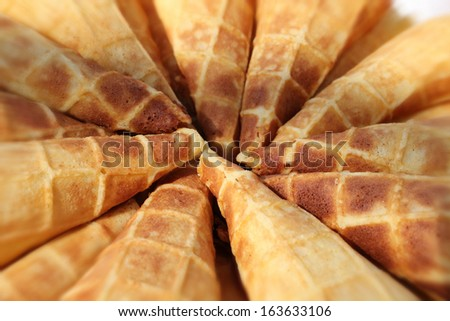 A  close up of many wafer cups for ice cream - stock photo