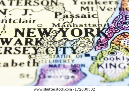 a close up of new york on map, united states. - stock photo