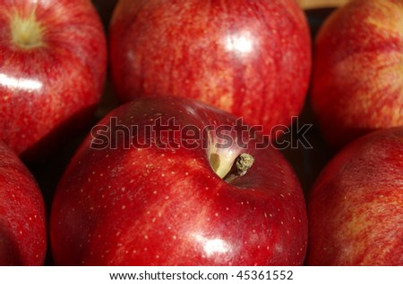 A close up of red apples in a basket - stock photo