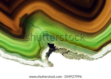 A Close-up of Slice of an Agate Gemstone Texture. - stock photo
