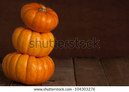 A Close Up of Three Small Pumpkins Stacked on Rustic Old Wooden Boards Against a Dark Brown Textured Background with Copy Space - stock photo